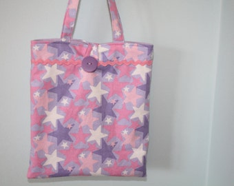 Small Pink, Purple, Lavender And White Star Flannel Tote Bag