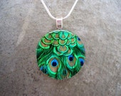 Peacock Feather Jewelry - Glass Pendant Necklace - Peacock 5