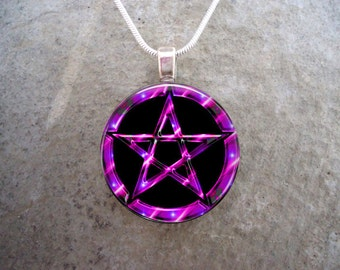 Wiccan Pentacle Jewelry - Glass Pendant Necklace - Black and Pink