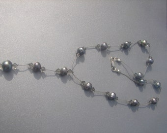 Gray Freshwater Pearl Necklace w/ Crystals in 925 393.
