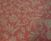 "1 Yard and 27"" of Quilt Cotton fabric Manufactured by JoAnns Stores Inc Creamy Floral on Peach Background"