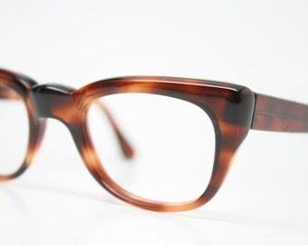 1960s Mens Glasses Vintage 1960's Eyeglasses woodgrain Squared Horn Rim Glasses NOS