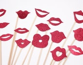 15 Red Glitter Cardstock Lip Props Photo Booth Props Photobooth prop - On a Stick - Mustache Moustache Party