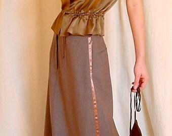 Asymmetric Tuxedo Maxi Skirt in Pinstriped Mocha Tropical Wool w.Satin Sides. SALE. 'Tuxy-Maxi'