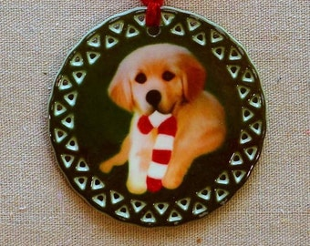Golden Retriever Puppy With Candy Cane Toy Ornament