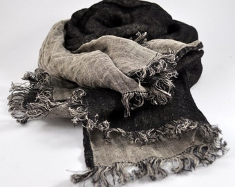 Linen Scarf / stonewashed linen shawl / linen wrap / mens scarf / woman scarf / unisex scarf / SHIPPING WORLWIDE / Linen gift