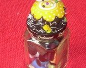 Glass BUTTON & THREAD Jar w/ PINCUSHION Top  Reserve for J C