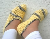Crochet womens slippers, yellow and gray, home shoes for ladies, mary jane slippers, gift for her, Valentines day gift - KnitterPrincess