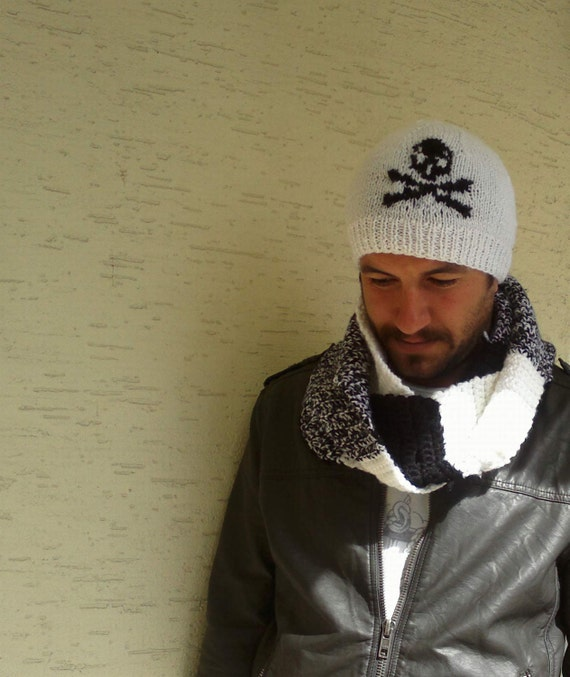 Set of mens beanie and scarf, in white and black, skull beret, gift for her him, winter 2013, christmas gift, valentines day