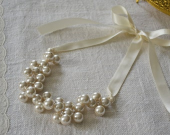 Jean: Beautiful Ivory Pearl Statement, Bib, Cluster Necklace with Ivory Ribbon Tie