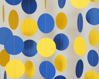 Blue & Yellow Graduation Garland, Nautical Party, Yellow Royal Blue Circle Paper Garland, Father's Day, Boy's Birthday, Baby Shower Decor