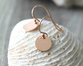 Little Dots - all 14kt ROSE Gold filled dangle round disc earrings on 14k rose gold fill ear wires, drop, hooks, simple everyday jewelry