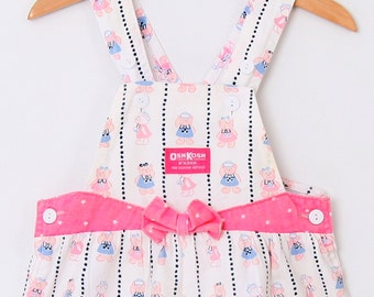 Vintage OshKosh Overall Dungarees in Teddy Bear Print and Coordinating Shirt 4T