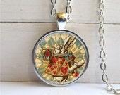 White Rabbit Pendant, Alice In Wonderland Necklace, White Rabbit Necklace
