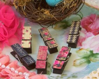 Decorative Mini Clothespin Sets, Mini Clothespins, Wood Clothespins, Set of 6, Wood, Embellishments, Scrapbook Clothespins, Paper Crafts