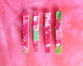 Lilly Pulitzer First Impression Print: Clothespin Magnets Set of four, Pink, Green, and White