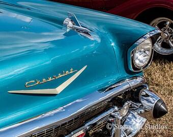 Blue 1957 Chevy -- Fine Art  Photography Print -- Photo, Home Decor, Vintage Car, Automobile, Chevrolet, Art