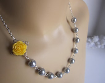 Yellow Rose and Grey Bridesmaid Necklace Yellow Wedding Fall Wedding Autumn Wedding maid of Honor