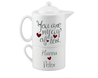 Personalized Couples Tea Set