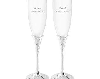 Personalized Crystal Champagne Flutes