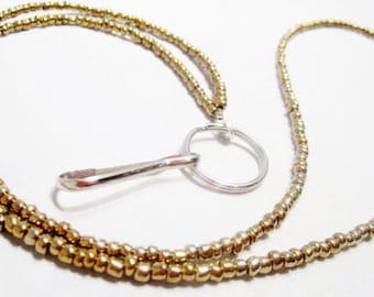 Shimmering Metallic Gold Seed Bead Lanyard, Metallic Gold Simple Beaded Id Tag Holder Lanyard, Lightweight Beaded Lanyard, Christmas Gift