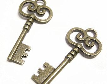 6pc 42x19mm antique bronze metal key pendant-8359