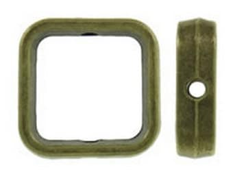 12pc antique bronze finish 14mm square shape bead frames-8537