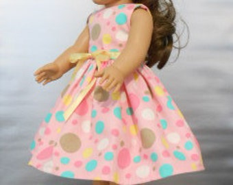 """18"""" Doll Dress - Multi-Colored Dots Pink, White, Green, Brown, Yellow  Dress fitting  18"""" Dolls - Doll Clothes"""