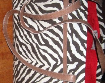 Tote Bag Canvas Zebra Print Brown and Cream Leather Straps Handmade by iDesign For You