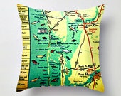 Florida Map Pillow | Boca Grande  Ft Myers Beach House | Decorative Throw Pillow Cover  | Retro Way Cool Pillow | Vintage Maps