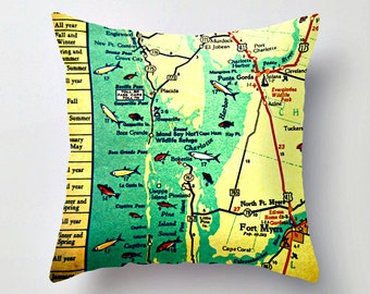 Florida Map Pillow Cover | Boca Grande  Ft Myers Beach House | Father's Day Gift Decorative Throw Pillow| Father's Day Pillow Vintage Maps