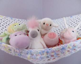 Crochet toy net hammock in white with pastel sprinkle yarn trim in pink, yellow, blue and lavender, stuffed animal storage MADE TO ORDER