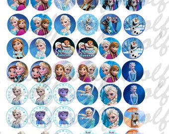 """INSTANT DOWNLOAD jpeg Disney Frozen Bottle Cap Images 1"""" Digital Collage Sheet 8.5x11"""" Hair Bow Centers, Stickers, Magnets, and party decor"""