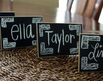 """Set of 192 - Chalkboard Place Cards - Table Markers - Wedding Signs - 3"""" x 5"""" - Distressed Edges"""