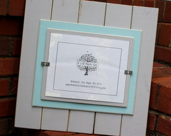 Picture Frame - Holds an 8x10 Photo - Wood - Distressed Edges - Light Gray & Sky Blue