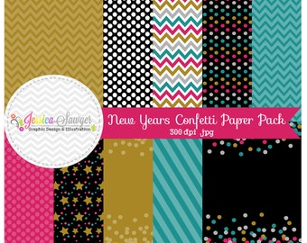INSTANT DOWNLOAD, new years eve confetti paper pack, for commercial or personal use, scrapbooking, printable party, backgrounds