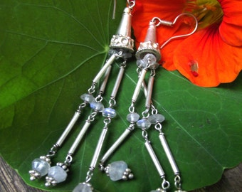 Long Tribal Dangle Earrings. Sterling Silver & Moonstone Earrings. Ethnic, Tribal Accessories.
