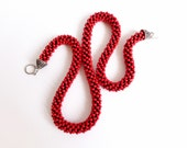 Red necklace/Long beaded rope necklace/Red accessories/Fiber Necklace