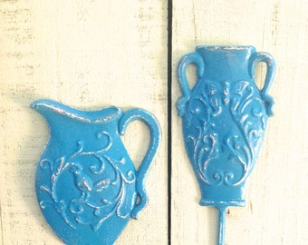 SALE - French Country  Wall Hooks / Set of 2 / Turquoise Casted Metal / Bird & Butterfly Motifs / Jewelry Hook