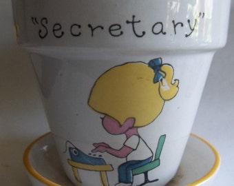 Enesco Secretary Flower Pot/Pencil Holder