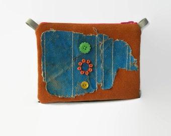 Toffee Colored Purse. Mixed media Pouch. Honey zipper purse. Toffee. Blue. Fuschia ooak