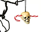 Candy Cane Skull Ornament