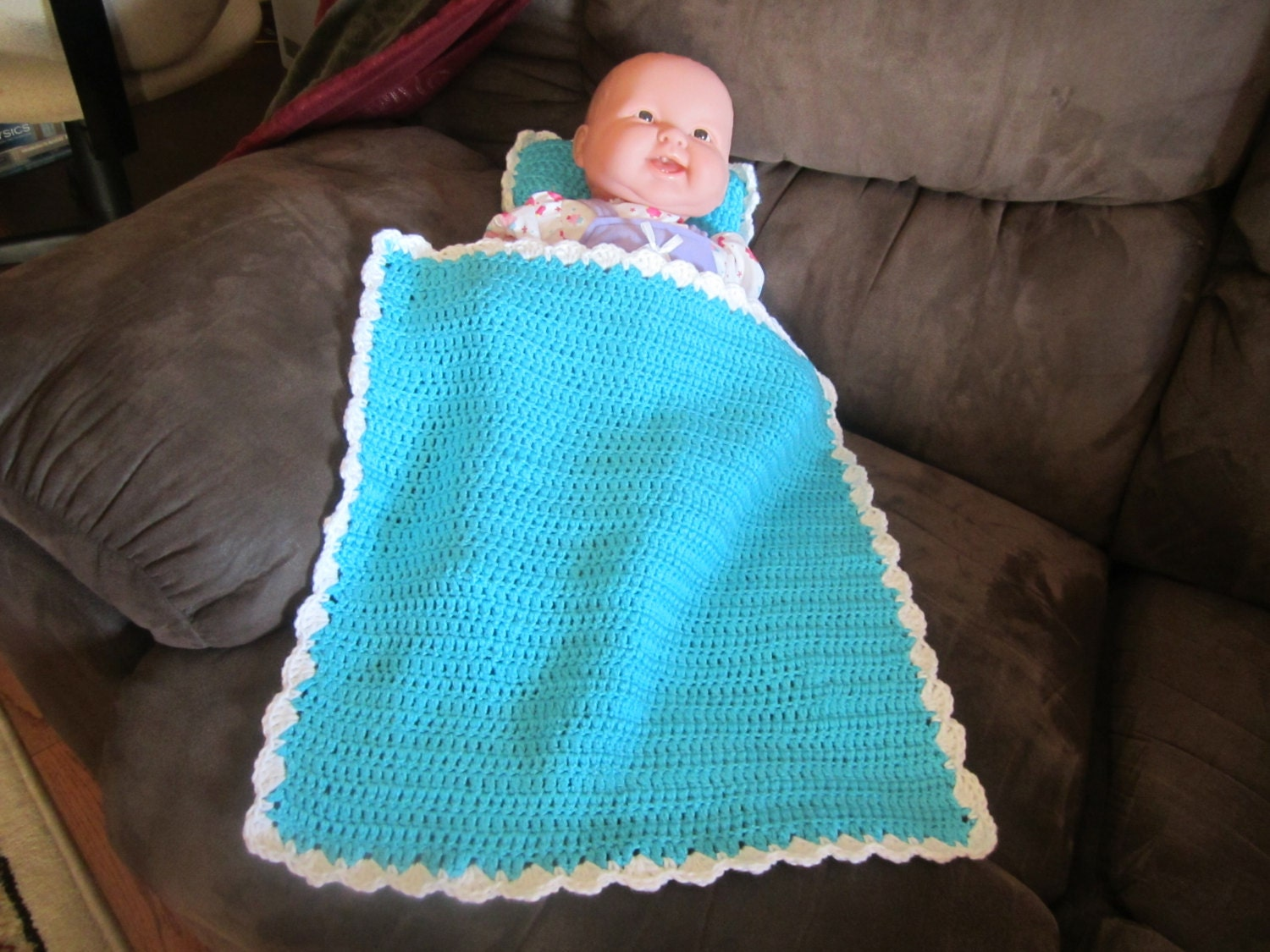 turquoise baby doll blanket and pillow set by sharonsamazingquilts. Black Bedroom Furniture Sets. Home Design Ideas
