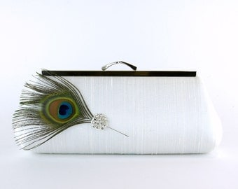 EllenVintage Peacock Silk Clutch in Ivory with Real Feather, Wedding clutch, Bridal clutch, Bridesmaid clutch, Evening bag