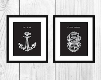 "2 Midnight Black 8x10"" Nautical Art Prints"
