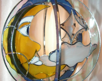 Moon face and Stars Stained Glass Whirl