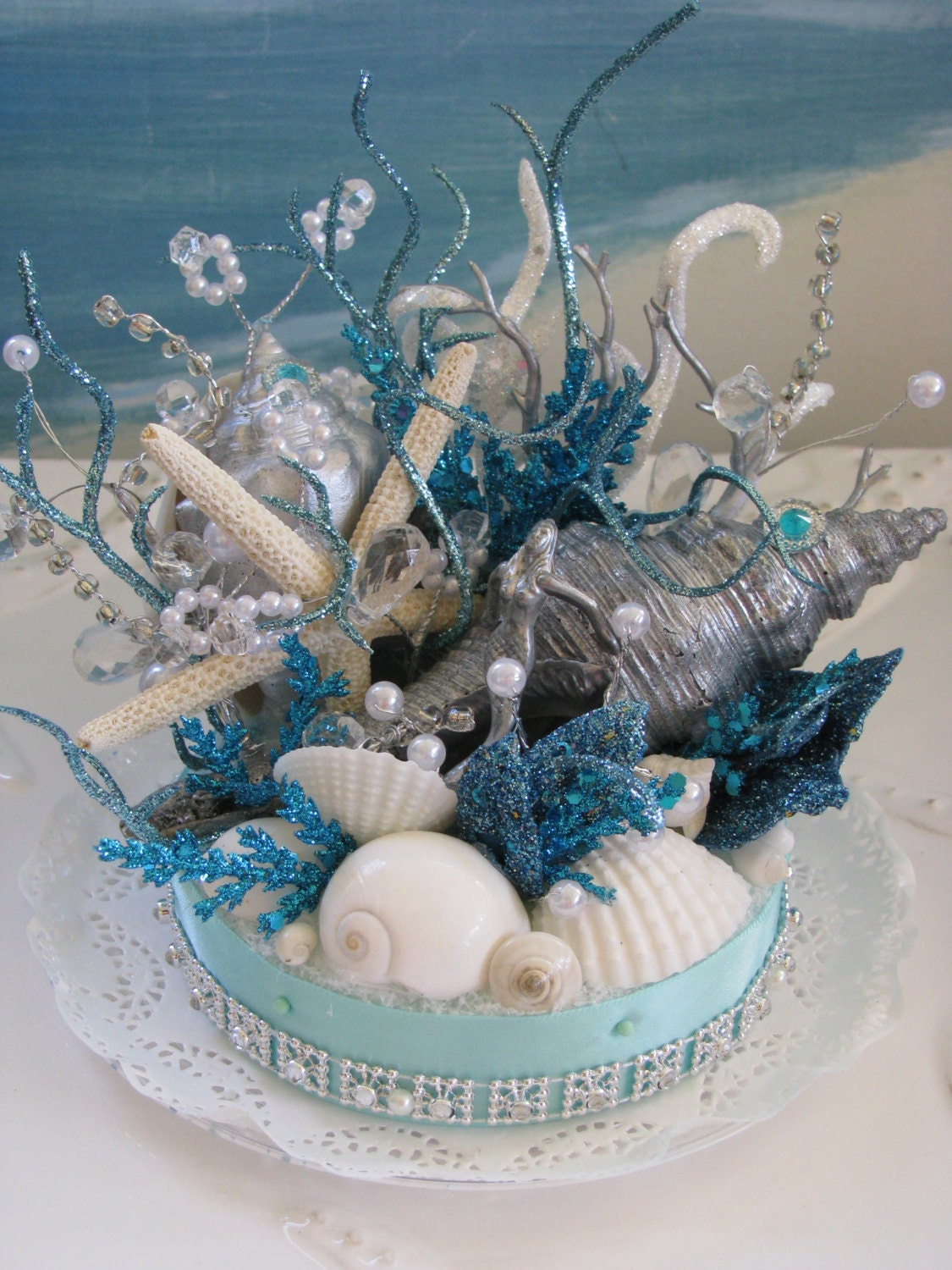 coral reef seashell cake topper starfish wedding cake. Black Bedroom Furniture Sets. Home Design Ideas