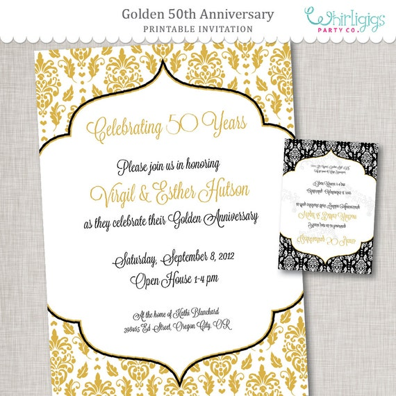 50th anniversary diy invitation by whirligigs party co With diy 50th wedding anniversary invitations