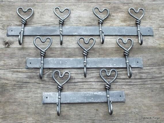 Coat Hooks Hand Forged Heart Hook Bars Blacksmith Made