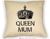 Queen Mum Pillow Cover, Mother's Day Gift, Gift for Mom, Mom Pillow, Crown Pillow, Crown Art, Home Decor, Sofa Pillow, Bed Pillow